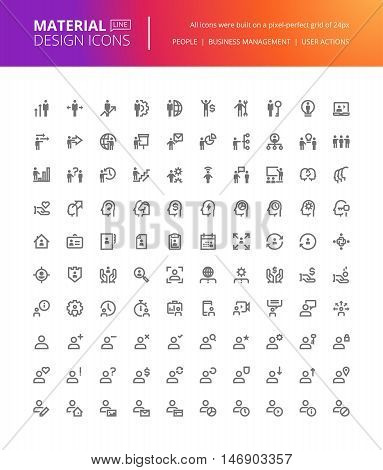 Material design people icons set. Thin line pixel perfect icons of business management, user action, networking. Premium quality icons for website and app design.