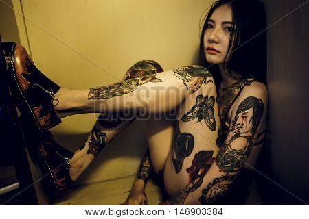 Tattoo Seductive Sexy Teen Girl Vogue Youth Concept