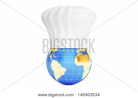 Earth with Chefs Hat International cuisine concept. 3D rendering isolated on white background