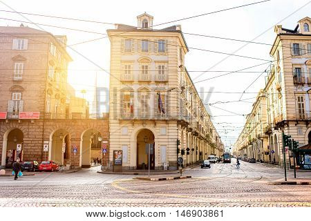 Turin, Italy - June 10, 2016: Street view in the old city center of Turin old town in the morning in Piedmont region in Italy