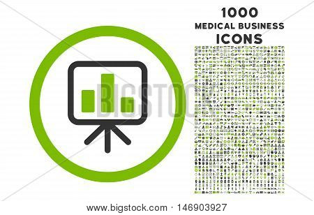 Slideshow Screen rounded glyph bicolor icon with 1000 medical business icons. Set style is flat pictograms, eco green and gray colors, white background.