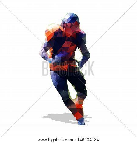 American football player. Abstract geometric running man. Vector illustration