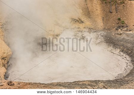 Boiling mud volcano in Yellowstone National Park with bubbles and steam