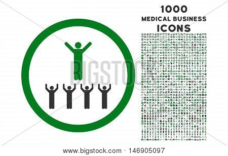 Religion Adepts rounded glyph bicolor icon with 1000 medical business icons. Set style is flat pictograms, green and gray colors, white background.