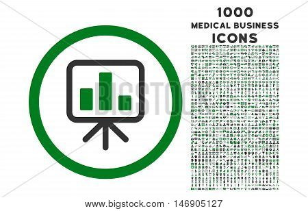 Slideshow Screen rounded glyph bicolor icon with 1000 medical business icons. Set style is flat pictograms, green and gray colors, white background.