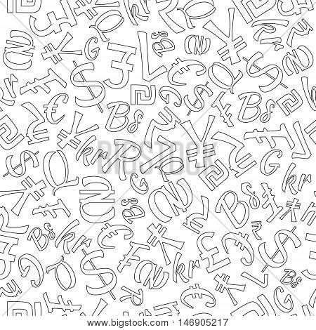 Seamless Pattern of Random World Currencies in Black Contour. Isolated Currency Symbols. Vector EPS 10