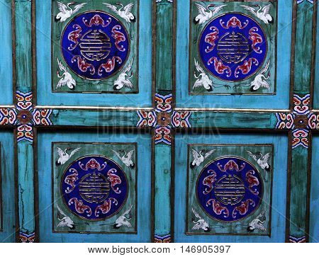 Chinese pattern and decoration in Garden of Virtue and Harmony (Summer Palace, Grand Theater). Beijing. China