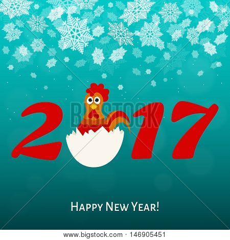 2017.Happy New year greeting card with fun rooster. Holiday vector illustration.