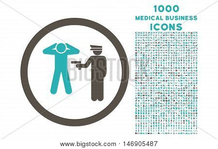 Arrest rounded glyph bicolor icon with 1000 medical business icons. Set style is flat pictograms, grey and cyan colors, white background.