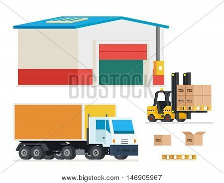 Cargo transportation. Loading and unloading trucks. Transportation and distribution, warehouse, merchandise service, vector illustration