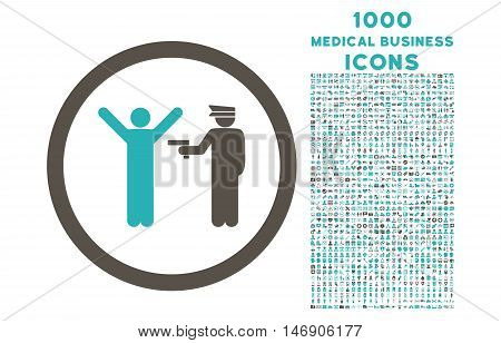 Police Arrest rounded glyph bicolor icon with 1000 medical business icons. Set style is flat pictograms, grey and cyan colors, white background.