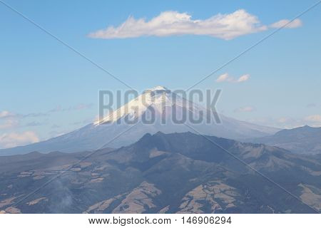 This a view of the Cotopaxi Volcano from the cable way station, this a from west to east view.