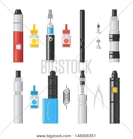 Vaping flat icons. E-cigarette vipe colored pictograms, vaporizer cigarette and vaporizer electronic smoke signs. Vector illustration