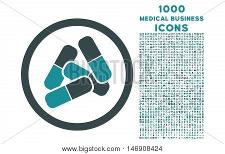Pills rounded glyph bicolor icon with 1000 medical business icons. Set style is flat pictograms, soft blue colors, white background.