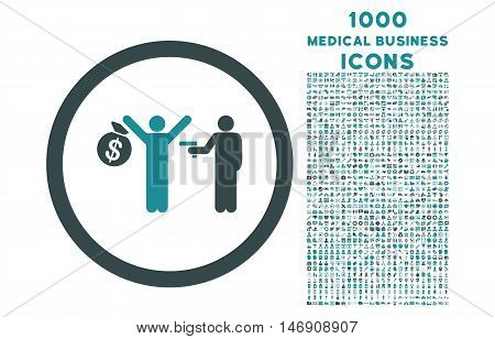 Robbery rounded glyph bicolor icon with 1000 medical business icons. Set style is flat pictograms, soft blue colors, white background.