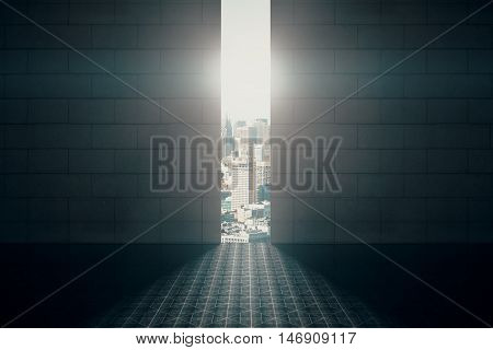 Abstract opening in wall with bright daylight and city view in brick interior with tile floor. Success concept. 3D Rendering