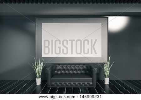 Dark concrete interior with huge empty picture frame black sofa and decorative plants. Mock up 3D Rendering