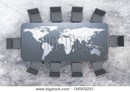 Top view of conference table with map on concrete background. 3D Rendering. International business concept