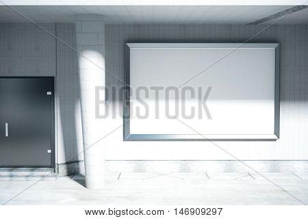 Concrete exterior with door column huge blank billboard and daylight. Mock up 3D Rendering