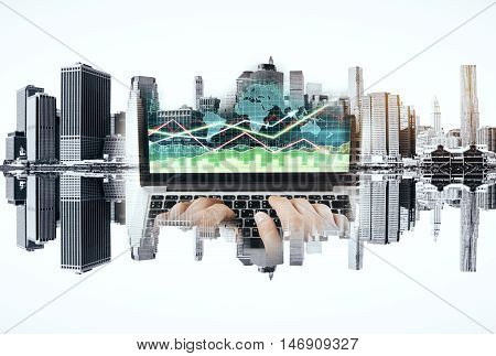 Abstract image of male hands using laptop with forex chart on abstract upside down city background. Double exposure. Fund management concept
