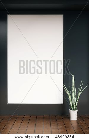 Dark concrete interior with large blank picture frame and decorative plant. Mock up 3D Rendering