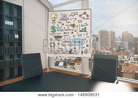 Conference room interior with business sketch on whiteboard stand and city view. Success concept. 3D Rendering