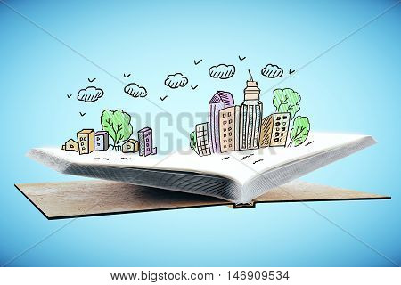 Open book with abstract colorful city drawing on blue background. 3D Rendering