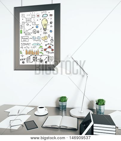 Modern bright workplace with various items and creative business sketch in picture frame. 3D Rendering