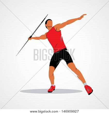 Javelin Thrower. Branding Identity Corporate vector logo design template Isolated on a white background. Vector illustration.