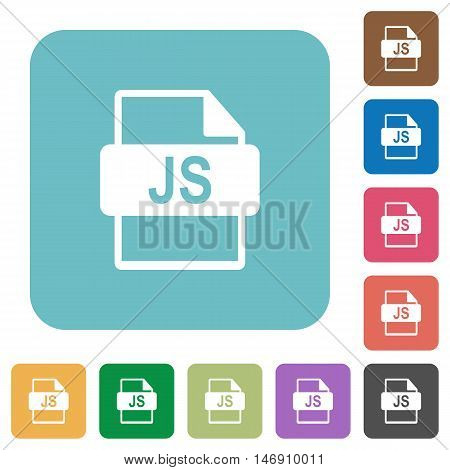 Flat JS file format icons on rounded square color backgrounds.