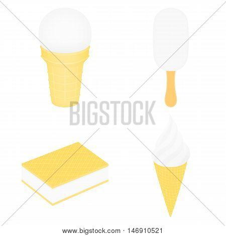 Set of white ice cream. Ice cream in a cup. Ice lolly. Ice cream between two wafers. Ice cream in a conical cup. Vector illustration. Isolated on white.
