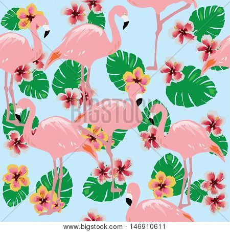 vector illustration of flamingos with flowers palm tree leaves