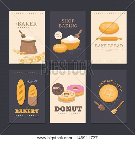Collection of vector cards shop bakery with bread, flour, loaf and donut. Set of templates for business cards, cafe menu, banners, covers, coupons, labels, tag and packaging. Illustration of pastries.