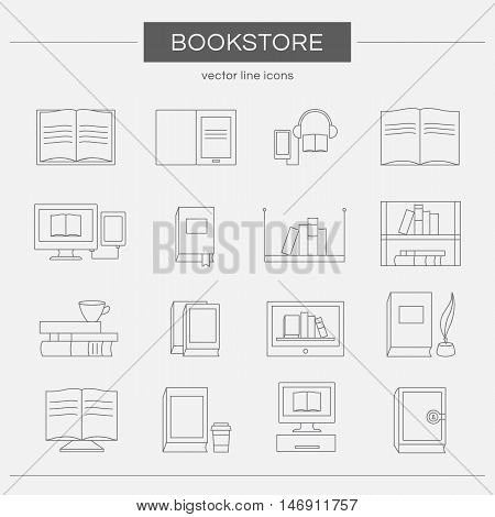 Set of line icons for a bookstore. Collection of vector elements: book, e-book, audiobook, stack of books, bookshelf, library and other. Templates for logo design. Illustration of reading and education.