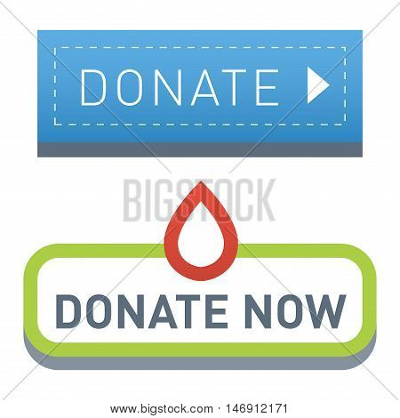 Vector donate concept hand and money button in flat style. Donation gift charity,