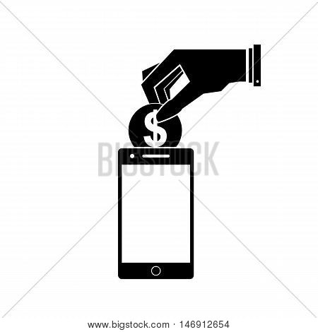 Billing, funding your account phone. Black and white vector illustration.