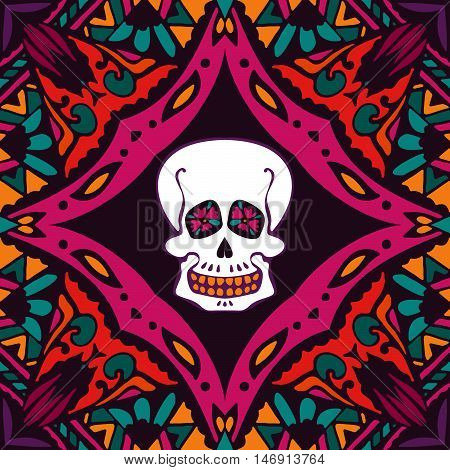 mexican style ornamental pattern with skull. helloween surface design