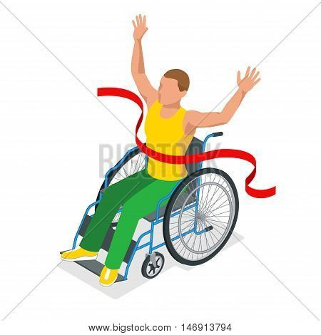 Isometric Olympic sports for peoples with disabled activity. Sport competitions Handicapped sportsmen. Vector illustration paralympic athletes.