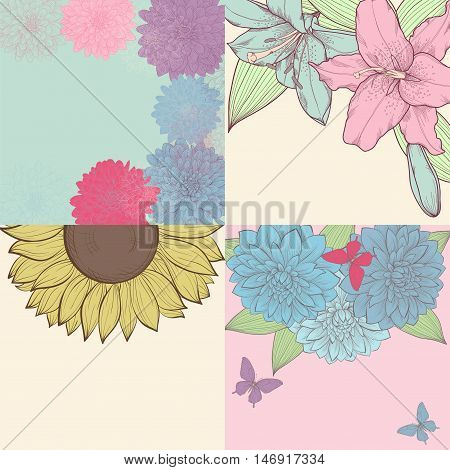 beautiful set of background with space for text frame of flowers. Hand-drawn contour lines and strokes. Perfect background greeting cards and invitations to the day wedding birthday mother's day