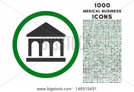 Bank Building rounded vector bicolor icon with 1000 medical business icons. Set style is flat pictograms, green and gray colors, white background.