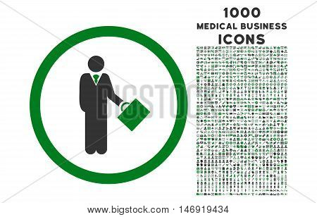 Businessman rounded vector bicolor icon with 1000 medical business icons. Set style is flat pictograms, green and gray colors, white background.