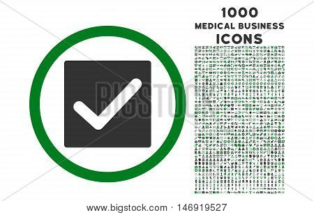 Check rounded vector bicolor icon with 1000 medical business icons. Set style is flat pictograms, green and gray colors, white background.