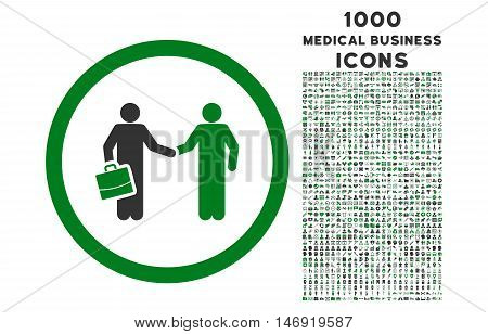 Contract Meeting rounded vector bicolor icon with 1000 medical business icons. Set style is flat pictograms, green and gray colors, white background.