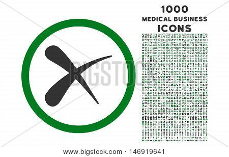 Erase rounded vector bicolor icon with 1000 medical business icons. Set style is flat pictograms, green and gray colors, white background.