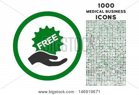 Free Offer rounded vector bicolor icon with 1000 medical business icons. Set style is flat pictograms, green and gray colors, white background.