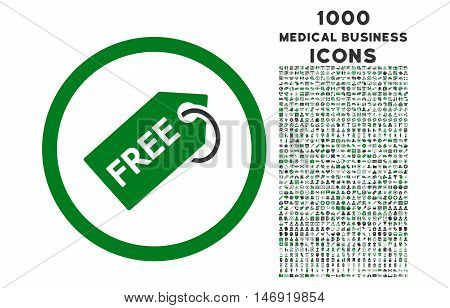 Free Tag rounded vector bicolor icon with 1000 medical business icons. Set style is flat pictograms, green and gray colors, white background.