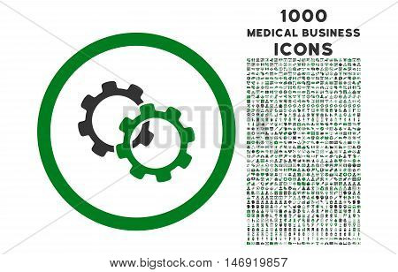 Gears rounded vector bicolor icon with 1000 medical business icons. Set style is flat pictograms, green and gray colors, white background.