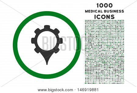 GPS Settings rounded vector bicolor icon with 1000 medical business icons. Set style is flat pictograms, green and gray colors, white background.