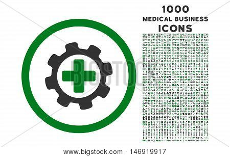 Medical Settings rounded vector bicolor icon with 1000 medical business icons. Set style is flat pictograms, green and gray colors, white background.