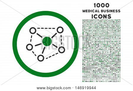 Molecule Links rounded vector bicolor icon with 1000 medical business icons. Set style is flat pictograms, green and gray colors, white background.
